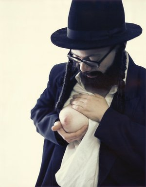 "Oreet Ashery (British, born Israel, 1966). <em>Self Portrait as Marcus Fisher I, from the ""Portrait of Marcus Fisher I-IV"" series</em>, 2000. Chromogenic photograph, Sheet: 51 x 40 in. (129.5 x 101.6 cm). Brooklyn Museum, Gift of the artist, 2008.39. © artist or artist's estate (Photo: Photograph courtesy of the artist, CUR.2008.39.jpg)"