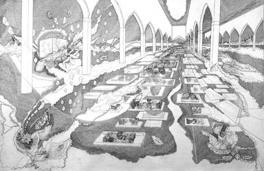 Seher Shah (Pakistani, born 1975). <em>Interior Courtyard 2</em>, 2007. Graphite pencil on white, medium weight, wove paper., 80 x 120 in. (203.2 x 304.8 cm). Brooklyn Museum, Purchase gift of Dr. Margaret Hammerschlag and gift of Donald T. Johnson, by exchange, 2008.4. © artist or artist's estate (Photo: Photograph courtesy of Bose Pacia, New York, CUR.2008.4_Bose_Pacia_photo.jpg)