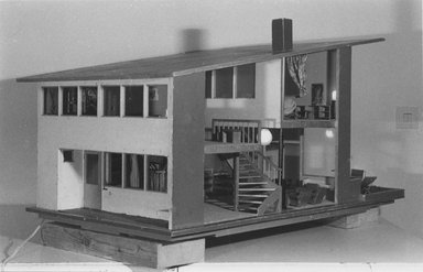 Gerrit Th. Rietveld (Dutch, 1888-1964). <em>Dollhouse</em>, 1952. Wood, metals, textiles, other materials, 24 x 36 x 24 in. (61.0 x 91.4 x 61.0 cm). Brooklyn Museum, Gift of Marcus S. Friedlander, by exchange, 2008.74. Creative Commons-BY (Photo: Brooklyn Museum, CUR.2008.74_view2.jpg)