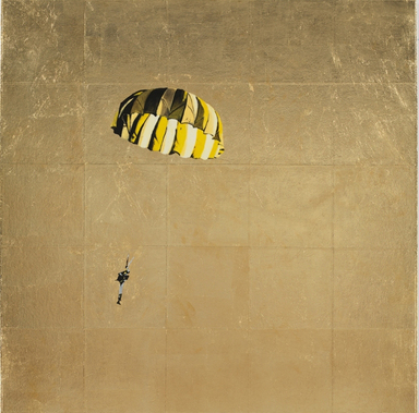 Isca Greenfield-Sanders (American, born 1978). <em>Yellow and Black Parachute</em>, 2008. Mixed media with gold leaf on canvas, 35 x 35 in. (88.9 x 88.9 cm). Brooklyn Museum, Anonymous gift in honor of Arnold and Pamela Lehman, 2009.26. © artist or artist's estate (Photo: Photograph courtesy of the artist, CUR.2009.26.jpg)