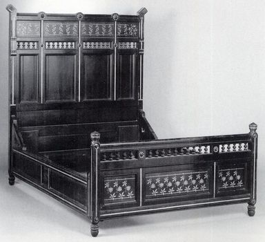Unknown. <em>Bed</em>, ca. 1880. Ebonized cherry, other woods, 74 1/2 x 65 3/4 x 3 1/2 x 78 3/4 in. (189.2 x 167 x 8.9 x 200 cm). Brooklyn Museum, Gift of Mr. and Mrs. John B. Schorsch, 2009.52.1. Creative Commons-BY (Photo: Brooklyn Museum, CUR.2009.52.1.jpg)