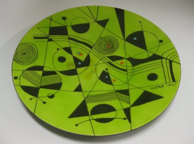 H. Edward Winter (American, 1909-1976, active 1932-1976). <em>Plate</em>, 1967. Enamel on copper, 1/2 x 11 1/2 in. (1.3 x 29.2 cm). Brooklyn Museum, Gift of Frank L. Babbott, by exchange, 2009.73. Creative Commons-BY (Photo: Brooklyn Museum, CUR.2009.73.jpg)