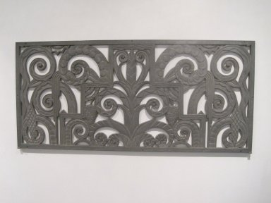 Thomas W. Lamb (American, born Scotland, 1871-1942). <em>Grille</em>, ca. 1932. Aluminum, 20 1/16 x 43 9/16 x 1/2 in. (51 x 110.6 x 1.3 cm). Brooklyn Museum, Gift of John C. Copoulos, 2009.75. Creative Commons-BY (Photo: Brooklyn Museum, CUR.2009.75.jpg)