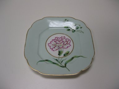 Union Porcelain Works (1863-ca. 1922). <em>Plate</em>, ca. 1885. Porcelain, with painted and gilded decoration, 7 1/4 x 7 1/4 x 7/8 in. (18.4 x 18.4 x 2.2 cm). Brooklyn Museum, Gift of Jay and Emma Lewis, 2009.76. Creative Commons-BY (Photo: Brooklyn Museum, CUR.2009.76.jpg)