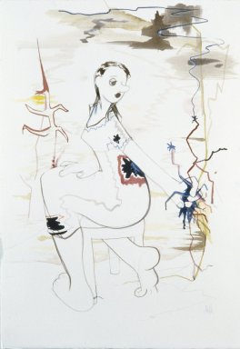 Ellen Berkenblit (American, born 1958). <em>Turning Woman with Handful of Sparks</em>, 1999. Mixed media on paper, Paper: 20 1/2 x 14 1/2 in. (52.1 x 36.8 cm). Brooklyn Museum, Gift of the Carol and Arthur Goldberg Collection, 2009.82.1. © artist or artist's estate (Photo: Photograph courtesy of Anton Kern Gallery, CUR.2009.82.1_Anton_Kern_Gallery_photo.jpg)