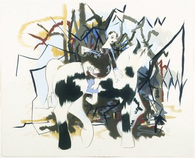 Ellen Berkenblit (American, born 1958). <em>Woman on Black and White Horse</em>, 1999. Mixed media on paper, Paper: 20 1/2 x 25 in. (52.1 x 63.5 cm). Brooklyn Museum, Gift of the Carol and Arthur Goldberg Collection, 2009.82.2. © artist or artist's estate (Photo: Photograph courtesy of Anton Kern Gallery, CUR.2009.82.2_Anton_Kern_Gallery_photo.jpg)