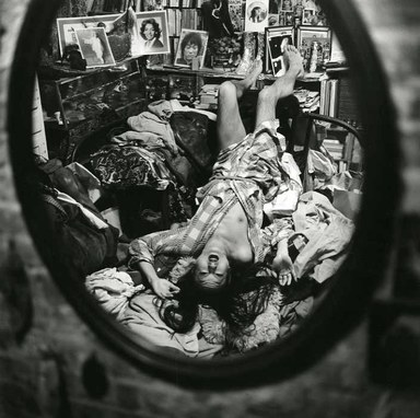 Arthur Tress (American, born 1940). <em>Augusto Machato with Cinemabilia, NY</em>, 1975. Gelatin silver photograph, 11 x 14 in. (27.9 x 35.6 cm). Brooklyn Museum, Gift of William and Marilyn Braunstein, 2009.86.15. © artist or artist's estate (Photo: Brooklyn Museum, CUR.2009.86.15.jpg)