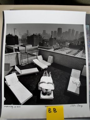 Arthur Tress (American, born 1940). <em>Couple on Roof, NY</em>, 1975. Gelatin silver photograph, 16 x 20 in. (40.6 x 50.8 cm). Brooklyn Museum, Gift of William and Marilyn Braunstein, 2009.86.24. © artist or artist's estate (Photo: Brooklyn Museum, CUR.2009.86.24.jpg)
