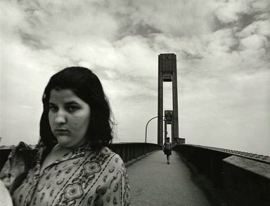 Arthur Tress (American, born 1940). <em>Girl on Bridge, NY</em>, 1970. Gelatin silver photograph, 11 x 14 in. (27.9 x 35.6 cm). Brooklyn Museum, Gift of William and Marilyn Braunstein, 2009.86.5. © artist or artist's estate (Photo: Brooklyn Museum, CUR.2009.86.5.jpg)