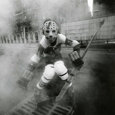 Arthur Tress (American, born 1940). <em>Hockey Player, NY</em>, 1972. Gelatin silver photograph, 11 x 11 in. (27.9 x 27.9 cm). Brooklyn Museum, Gift of William and Marilyn Braunstein, 2009.86.6. © artist or artist's estate (Photo: Brooklyn Museum, CUR.2009.86.6.jpg)