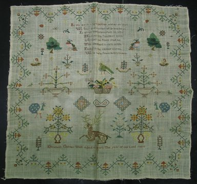 Elizabeth Old (American or English, 1811-?). <em>Sampler</em>, 1823. Linen, cotton, silk, 21 5/8 x 21 3/4 in. (54.9 x 55.2 cm). Brooklyn Museum, Gift of Constance L. Christensen, 2009.9. Creative Commons-BY (Photo: Brooklyn Museum, CUR.2009.9.jpg)