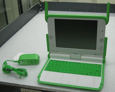 Yves Behar (Swiss, born 1967). <em>OLPC XO Laptop</em>, 2006. Polycarbonate/Acrylonitrile Butadiene Styrene (PC/ABS), rubber, 1 1/4 x 9 1/2 x 9 in. (3.2 x 24.1 x 22.9 cm). Brooklyn Museum, Gift of Yves Behar/fuseproject, 2010.15.2a-c. Creative Commons-BY (Photo: Brooklyn Museum, CUR.2010.15.2a-c_interior.jpg)