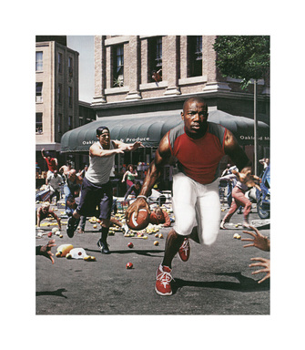 "Hank Willis Thomas (American, born 1976). <em>The Liberation of T.O.: ""I'm not goin' back to work for massa' in dat darned field!"" 2003/2005</em>, 2003/2005. Chromogenic photograph, sheet: 13 9/16 x 11 13/16 in. (34.4 x 30 cm). Brooklyn Museum, Mary Smith Dorward Fund and gift of Robert Smith, by exchange, 2010.18.36. © artist or artist's estate (Photo: Image courtesy of Charles Guice Contemporary, CUR.2010.18.36_Charles_Guice_Contemporary_photograph.jpg)"
