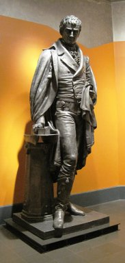 Caspar Buberl (American, born Bohemia, 1834-1899). <em>Statue of Robert Fulton</em>, 1872. Zinc, paint, lead-tin solder, plaster (repairs), height: 126 in., 2500 lb. (320 cm, 1133.99kg). Brooklyn Museum, Gift of the Museum of the City of New York, 2010.21. Creative Commons-BY (Photo: Brooklyn Museum, CUR.2010.21.jpg)