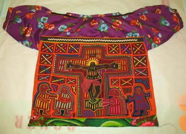 Kuna. <em>Blouse or Mola</em>, 20th century. Cotton, 22 x 34 1/4 in. (55.9 x 87 cm) - including sleeves. Brooklyn Museum, Gift of the Coltrera Collection, 2010.23.4. Creative Commons-BY (Photo: Brooklyn Museum, CUR.2010.23.4_back.jpg)