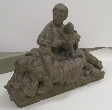 Frederick William MacMonnies (American, 1863-1937). <em>Bozzetto of Pioneer Mother for Pioneer Monument</em>, ca. 1906-1910. Painted plaster, 11 x 15 x 6 in. (27.9 x 38.1 x 15.2 cm). Brooklyn Museum, Gift of Mr. and Mrs. John F. McGuigan, Jr., 2010.4. Creative Commons-BY (Photo: Brooklyn Museum, CUR.2010.4_view1.jpg)