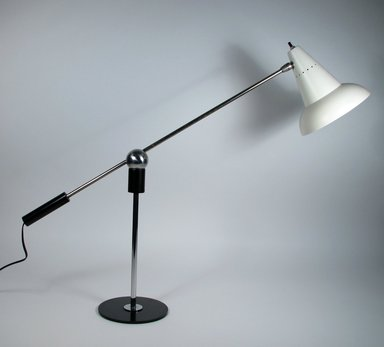 Gilbert A. Watrous (1918-1991). <em>Table Lamp</em>, Designed ca. 1955. Aluminum, plastic, enameled and chrome-plated metal, rubber, Lamp: 4 3/4 x 26 3/16 in. (12 x 66.5 cm). Brooklyn Museum, Gift of Roy Poretsky through The Liliane and David M. Stewart Program for Modern Design, 2010.55.3. Creative Commons-BY (Photo: Brooklyn Museum, CUR.2010.55.3.jpg)