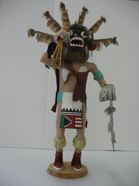 Probably Henry Shelton (born 1929). <em>Ogre (Chaveyo) Kachina Doll</em>, 1960-1970. Cottonwood root, acrylic pigment, hide, feathers, fur, horse hair, wood, yarn, 23 x 13 1/2 x 10 in. (58.4 x 34.3 x 25.4 cm). Brooklyn Museum, Gift of Edith and Hershel Samuels, 2010.6.15. Creative Commons-BY (Photo: Brooklyn Museum, CUR.2010.6.15.jpg)