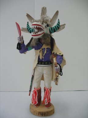 Henry Shelton (born 1929). <em>Kachina Doll</em>, 1960-1970. Wood, paint, hide, feathers, fur, yarn, silver, wool or cotton, 22 × 9 1/2 × 9 in. (55.9 × 24.1 × 22.9 cm). Brooklyn Museum, Gift of Edith and Hershel Samuels, 2010.6.7. Creative Commons-BY (Photo: Brooklyn Museum, CUR.2010.6.7.jpg)