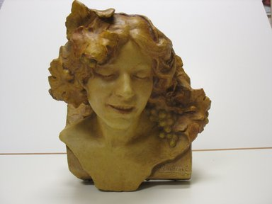 Edmond Lachenal (French, 1855-1930). <em>Bust</em>, 1909. Glazed earthenware, 12 1/2 x 13 1/2 x 12 in. (31.8 x 34.3 x 30.5 cm). Brooklyn Museum, Gift of Robert Tuggle, 2010.76. Creative Commons-BY (Photo: Brooklyn Museum, CUR.2010.76.jpg)