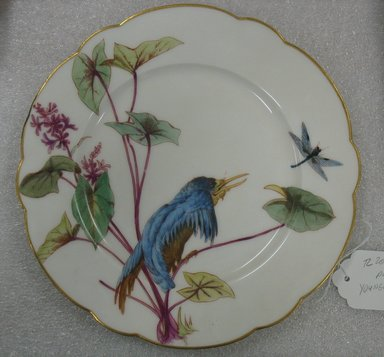 Ovington Brothers. <em>Plate</em>, ca. 1880. Porcelain, 1 x 9 3/8 in. (2.5 x 23.8 cm). Brooklyn Museum, Gift of William Lee Younger in memory of Joseph A. Henehan, 2010.77.1. Creative Commons-BY (Photo: Brooklyn Museum, CUR.2010.77.1.jpg)
