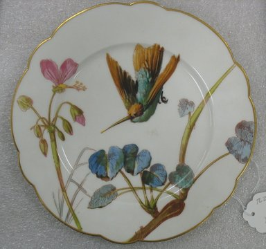 Ovington Brothers. <em>Plate</em>, ca. 1880. Porcelain, 1 x 9 3/8 in. (2.5 x 23.8 cm). Brooklyn Museum, Gift of William Lee Younger in memory of Joseph A. Henehan, 2010.77.2. Creative Commons-BY (Photo: Brooklyn Museum, CUR.2010.77.2.jpg)