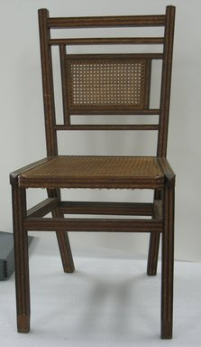 George Jacob Hunzinger (American, born Germany, 1835-1898). <em>Side Chair</em>, Patented March 13, 1883. Wood, cane, straw braid., 35 3/8 x 17 1/2 x 20 3/8 in. (89.9 x 44.5 x 51.8 cm). Brooklyn Museum, Designated Purchase Fund, 2011.13. Creative Commons-BY (Photo: Brooklyn Museum, CUR.2011.13.jpg)