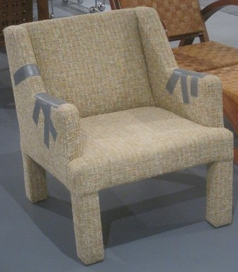 Jason Miller (American, born 1971). <em>Duct Tape Chair</em>, 2006. Wood, cotton-wool textile, leather, 29 1/4 x 24 1/2 x 27 in. (74.3 x 62.2 x 68.6 cm). Brooklyn Museum, Gift of Jason Miller, 2011.16.1. Creative Commons-BY (Photo: Brooklyn Museum, CUR.2011.16.1.jpg)