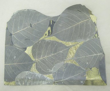 Aviva Stanoff (American, born 1972). <em>Bodhi Leaves with Gold Detail on Leather</em>, 2003. Pigsuede and skeleton leaves with gold foil, 12 1/2 x 9 3/4 in. (31.8 x 24.8 cm). Brooklyn Museum, Gift of the artist in memory of Seth Mirsky