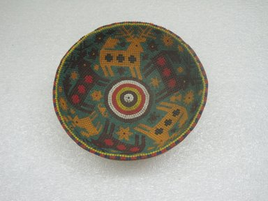 Huichol (Wixárika). <em>Bowl</em>. Gourd, beads, beeswax, 2 x 5 7/16 x 5 7/16 in. (5.1 x 13.8 x 13.8 cm). Brooklyn Museum, Gift of Esther Pasztory, 2011.34. Creative Commons-BY (Photo: Brooklyn Museum, CUR.2011.34_view1.jpg)