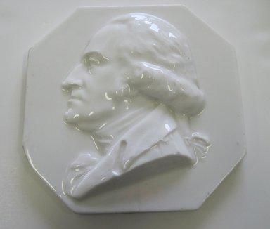 Karl L. H. Mueller (American, born Germany, 1820-1887). <em>Plaque, Portrait of George Washington</em>, ca. 1876. Porcelain, 5/8 x 5 7/8 x 5 7/8 in. (1.6 x 14.9 x 14.9 cm). Brooklyn Museum, Harold S. Keller Fund, 2011.40.2. Creative Commons-BY (Photo: Brooklyn Museum, CUR.2011.40.2.jpg)