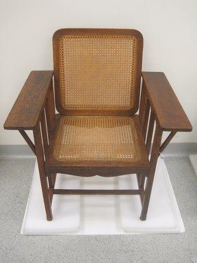 David Wolcott Kendall (American, 1851-1910). <em>Armchair</em>, designed 1894; manufactured 1894-ca.1915. Oak, cane, 34 1/2 x 24 x 23 5/8 in. (87.6 x 61 x 60 cm). Brooklyn Museum, Gift of Maureen Cassidy-Geiger, James and Lily Geiger, 2011.42. Creative Commons-BY (Photo: Brooklyn Museum, CUR.2011.42.jpg)