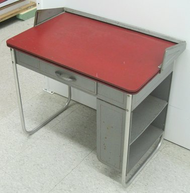 "Carl E. Meyerhoefer (German, 1908-1995). <em>Convertible Black-Board Desk, ""Lewytoy Line,""</em> May 22, 1945 (patent). Steel, chromed tubular steel, particle board, 27 1/2 x 28 1/2 x 17 15/16 in. (69.9 x 72.4 x 45.6 cm). Brooklyn Museum, Gift of Jacqueline Loewe Fowler, 2011.44.1. Creative Commons-BY (Photo: Brooklyn Museum, CUR.2011.44.1.jpg)"