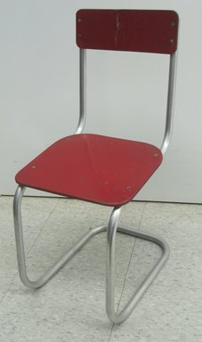 "Carl E. Meyerhoefer (German, 1908-1995). <em>Child's Chair, ""Lewytoy"" line</em>, May 22, 1945 (patent). Chromed tubular steel, particle board, 26 x 12 x 16 1/2 in. (66.0 x 30.5 x 41.9 cm). Brooklyn Museum, Gift of Jacqueline Loewe Fowler, 2011.44.2. Creative Commons-BY (Photo: Brooklyn Museum, CUR.2011.44.2.jpg)"