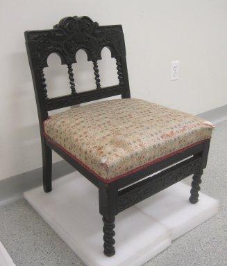 <em>Side Chair</em>, ca. 1880. Ebonized cherry, modern upholstery, 28 x 20 x 19 in. (71.1 x 50.8 x 48.3 cm). Brooklyn Museum, Gift of Robert Tuggle, 2011.46.31. Creative Commons-BY (Photo: Brooklyn Museum, CUR.2011.46.31.jpg)