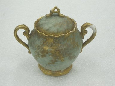 William Lycett (American, born England, 1855-1909, active late 19th century). <em>Sugar Bowl with Lid</em>, ca. 1895. Porcelain, 5 1/4 x 5 1/8 x 3 3/4 in. (13.3 x 13 x 9.5 cm). Brooklyn Museum, Harold S. Keller Fund, 2011.58.5a-b. Creative Commons-BY (Photo: Brooklyn Museum, CUR.2011.58.5a-b.jpg)