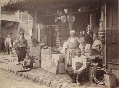 Jean Sébah (Turkish, 1872-1947). <em>Boutiques et Marchands Turc (No. 708)</em>, late 19th century. Albumen print, 7 5/8 x 10 in. (19.4 x 25.4 cm). Brooklyn Museum, Gift of Pamela and Arnold Lehman, 2011.71.2 (Photo: Brooklyn Museum, CUR.2011.71.2.jpg)
