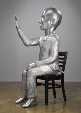 Kiki Smith (American, born Germany, 1954). <em>Annunciation</em>, 2008. Cast aluminum, wood, 61 1/2 x 32 x 19 in. (156.2 x 81.3 x 48.3 cm). Brooklyn Museum, Purchased with funds given by John and Barbara Vogelstein, Alan and Leslie Beller, Constance and Henry Christensen III, Nikola Duravcevic and Dana Ben-Ari, Stephanie and Tim Ingrassia, Leslie and David Puth, Elizabeth A. Sackler, John S. Tamagni, Barbara and Bill Wynne and Designated Purchase Fund