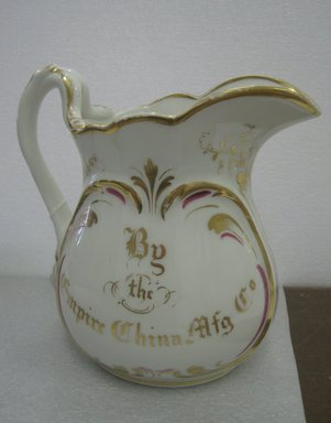 Empire China Works (1867/8-1927). <em>Pitcher</em>, ca. 1875. Porcelain, 9 1/2 x 9 x 6 in. (24.1 x 22.9 x 15.2 cm). Brooklyn Museum, Harold S. Keller Fund, 2011.79.1. Creative Commons-BY (Photo: Brooklyn Museum, CUR.2011.79.1_view1.jpg)