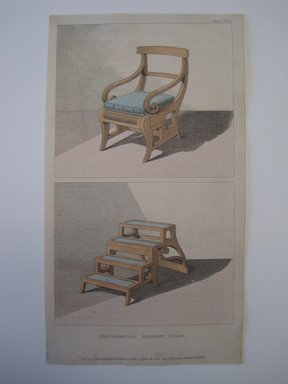 "Rudolph Ackermann (British, 1764-1830). <em>""Metamorphic Library Chair"", from ""Repository of Arts, Literature, Fashions Etc.."" Plate 29 (volume I, July 1811)</em>, 1811. Printed paper and watercolor, Other: 9 1/4 x 5 1/8 in. (23.5 x 13 cm). Brooklyn Museum, Gift of H. Blairman & Sons Ltd., 2011.80 (Photo: Brooklyn Museum, CUR.2011.80_recto.jpg)"