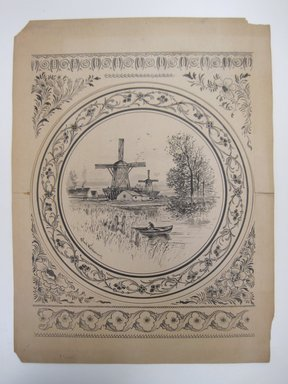 Charles Volkmar (American, 1841-1914). <em>[Untitled] (Design for Plate)</em>, ca. 1885. Ink and wash on paper, 19 3/16 x 14 1/4 in. (48.8 x 36.2 cm). Brooklyn Museum, Gift of Alexander and Fulvia Mitchell in memory of Dr. Myron S. Mitchell, by exchange, 2012.12.2 (Photo: Brooklyn Museum, CUR.2012.12.2.jpg)