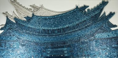 Ran Hwang (South Korean, born 1960). <em>East Wind</em>, 2012. Plastic and metal buttons and beads, metal pins, wood panel, overall: 71 x 142 in. (180.3 x 360.7cm). Brooklyn Museum, Gift of Mrs. Walter N. Rothschild, by exchange and Mary Smith Dorward Fund, 2012.27a-c. © artist or artist's estate (Photo: Image courtesy of Leila Heller Gallery, New York, CUR.2012.27a-c_view1_Leila_Heller_Gallery_photo.jpg)