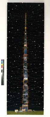 Fred Tomaselli (American, born 1956). <em>Big Stack</em>, 2009. Photo collage, acrylic and resin on wood panel, 120 x 40 in. (304.8 x 101.6 cm). Brooklyn Museum, Gift of the Contemporary Art Acquisitions Committee, Designated Purchase Fund, Frank L. Babbott Fund, and Mary Smith Dorward Fund