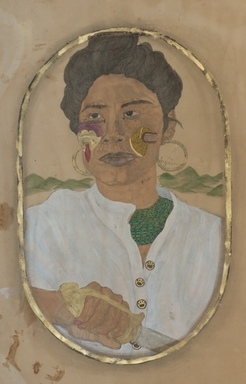 "Frohawk Two Feathers (born Umar Rashid) (American, born 1976). <em>I'll Cut You. I Swear. (""Queen"" Jacinta of the Tairona. Santa Marta, Colombia 1790).</em>, 2011. Acrylic, ink, coffee and tea on paper, 44 x 30 in. (111.8 x 76.2 cm). Brooklyn Museum, Robert A. Levinson Fund, 2012.29.2. © artist or artist's estate (Photo: Image courtesy of Morgan Lehmann Gallery, CUR.2012.29.2_Morgan_Lehmann_Gallery_photo.jpg)"