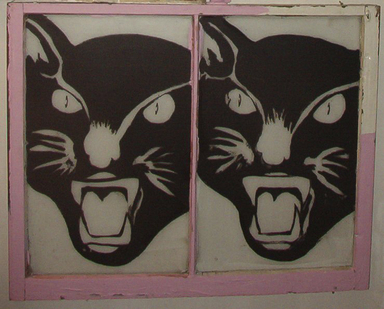 Navin June Norling (American). <em>Black Cats</em>, 2003. Paint on glass, 36 x 44 in. (91.4 x 111.8 cm). Brooklyn Museum, Gift of Arnold and Pamela Lehman, 2012.53a. © artist or artist's estate (Photo: Image courtesy of the donor, CUR.2012.53a_donor_photograph.jpg)