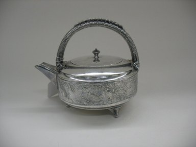 Meriden Silver Company, a division of International Silver Co. (American, founded 1898). <em>Teapot with Lid</em>, 1875-1885. Silverplate, 6 1/2 x 7 7/8 x 6 in. (16.5 x 20 x 15.2 cm). Brooklyn Museum, Gift of Sarah Eigen, 2012.60.10a-b. Creative Commons-BY (Photo: Brooklyn Museum, CUR.2012.60.10a-b.jpg)