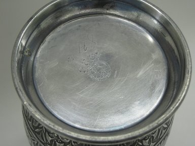 Hartford Silver Plate Co.. <em>Urn</em>, 1875-1885. Silverplate, approx.: 8 x 4 in. (20.3 x 10.2 cm). Brooklyn Museum, Gift of Sarah Eigen, 2012.60.3a-b. Creative Commons-BY (Photo: Brooklyn Museum, CUR.2012.60.3_mark.jpg)