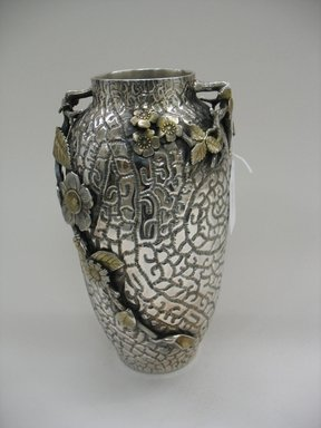 Meriden Silver Company, a division of International Silver Co. (American, founded 1898). <em>Vase</em>, ca. 1882. Silverplate, 12 x 6 x 6 in. (30.5 x 15.2 x 15.2 cm). Brooklyn Museum, Gift of Sarah Eigen, 2012.60.8. Creative Commons-BY (Photo: Brooklyn Museum, CUR.2012.60.8_view2.jpg)