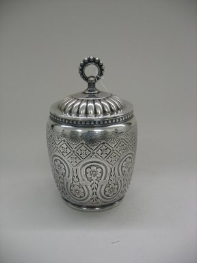 James W. Tufts (1875-ca. 1914). <em>Tea Caddy with Lid</em>, 1875-1885. Silverplate, a, caddy without lid: 4 x 3 1/2 x 3 1/2 in. (10.2 x 8.9 x 8.9 cm). Brooklyn Museum, Gift of Sarah Eigen, 2012.60.9a-c. Creative Commons-BY (Photo: Brooklyn Museum, CUR.2012.60.9a-c.jpg)