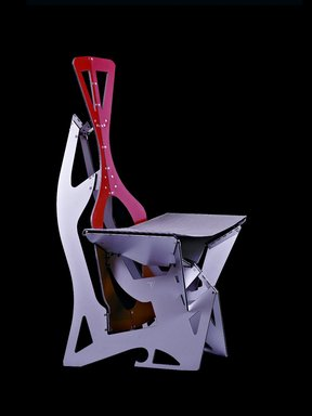 "Alexander Gendell (American, born 1969). <em>""Leaf"" Chair</em>, designed 2009, manufactured beginning 2012. Aluminum composite, stainless steel, synthetic textile Brooklyn Museum, Gift of Folditure, 2012.62. Creative Commons-BY (Photo: Image courtesy of the artist, CUR.2012.62_artist_photo_view1.jpg)"